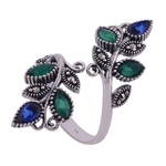 The Green Blue Vine Silver Ring