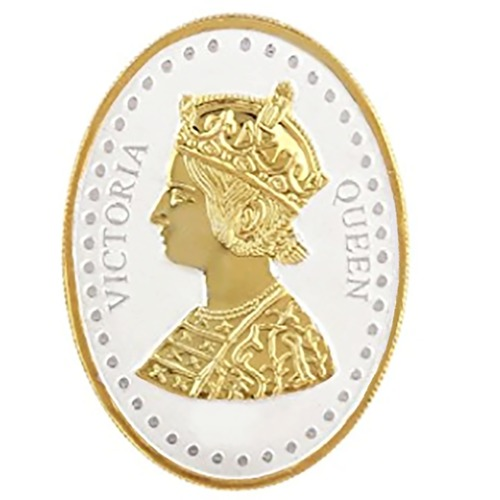 Silver Coin Queen Victoria 24 Kt Gold Plated 20 Gm 999 BIS Hallmarked