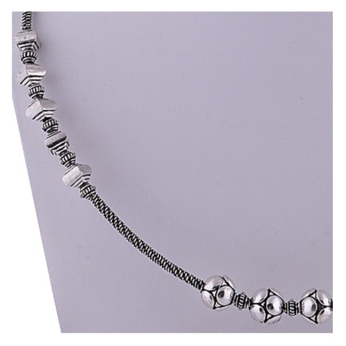 The Bead n Square Silver Necklace