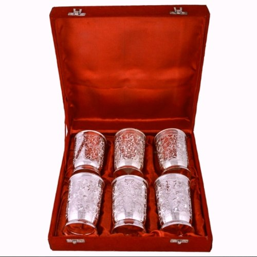 ALMAS SILVER PLATED TRADITIONAL DESIGNER 6 PIECES GLASS SET