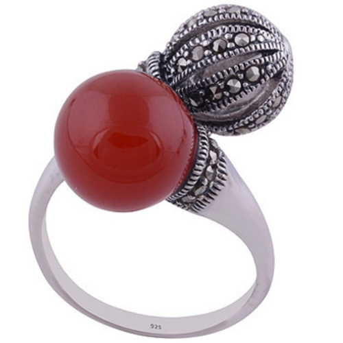 The Carnelian n Marcasite Sphere Silver Ring