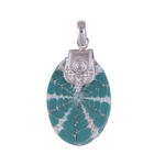Turquoise Blue Shell Silver Pendant
