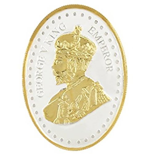 Silver Coin George King V Emperor 24 Kt Gold Plated 50 Gm 999 BIS Hallmarked