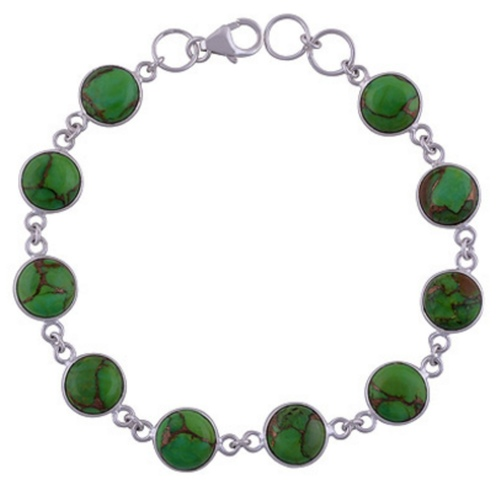 Green Turquoise Silver Bracelet