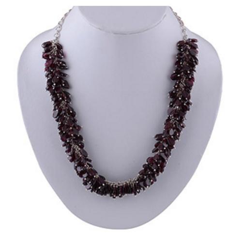 The Garnet Bunch Silver Necklace