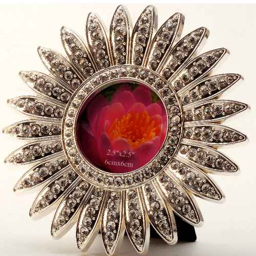 Silver Plated and Zircon Flower  Photo Frame