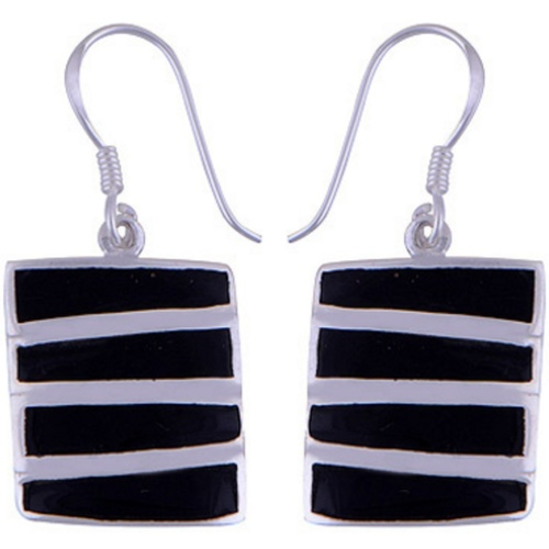 The Onyx Stack Silver Earring