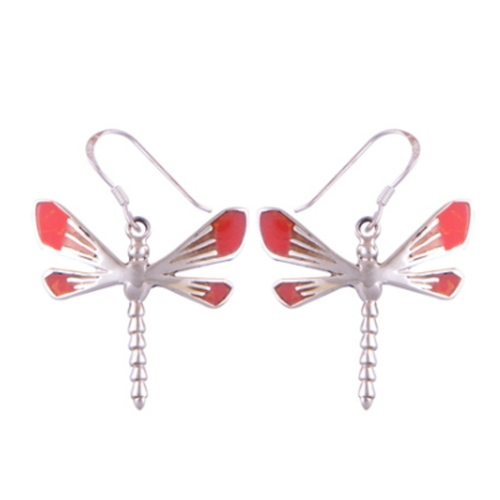 The Fire Dragonfly Silver Earrings