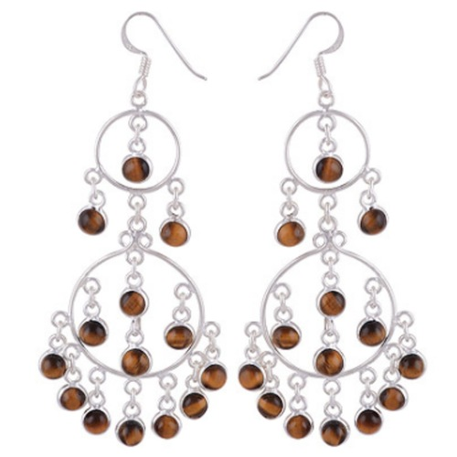 The Tiger Eye Rain Silver Earrings