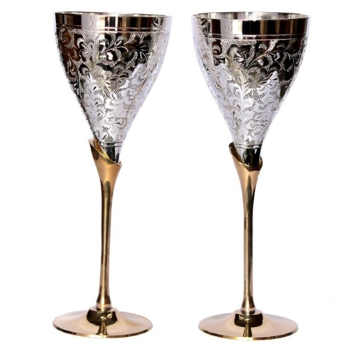 SILVER PLATED ENGRAVED PURE BRASS PREMIUM GOBLET CHAMPAGNE FLUTES COUPES WINE GLASS SET OF 2