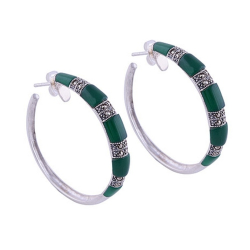 The Green Onyx & Marcasite Silver Earrings