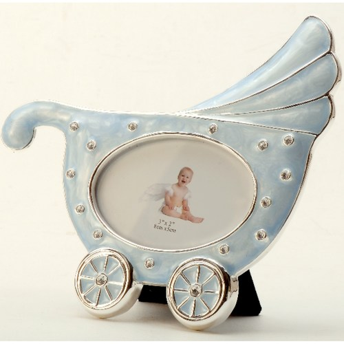 Silver Plated and Zircon Baby Cart Photo Frame