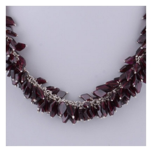 The Garnet Bunch Silver Necklace