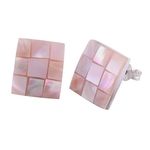 The Pink Reflection Shell Silver Studs