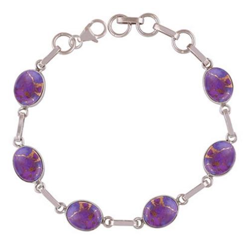 Purple Turquoise Silver Bracelet
