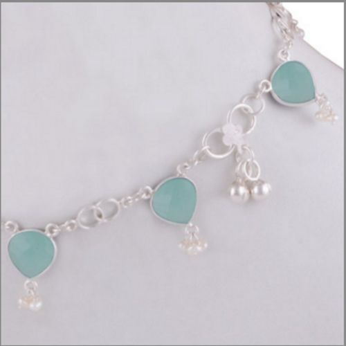 PEARL N CHALCEDONY AQUA SILVER ANKLET