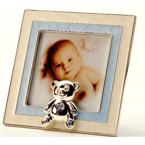 Silver Plated and Zircon Baby Picture Frames With Personalization