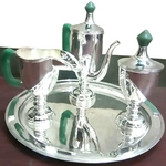 ALMAS ENGLISH VINTAGE SILVER N JADE D'ECOR TEA SET