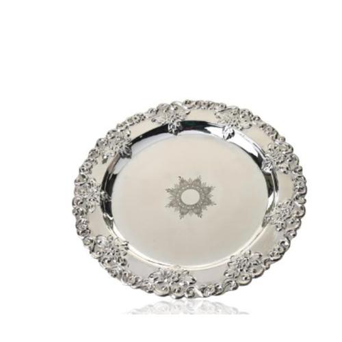 3D Floral Design Silver Plate
