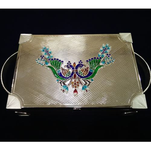 DECOR PEACOCK SILVER TRAY