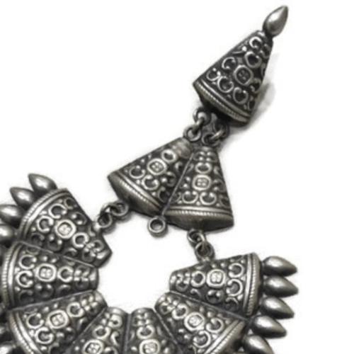 Silver Chandbali Earrings Big