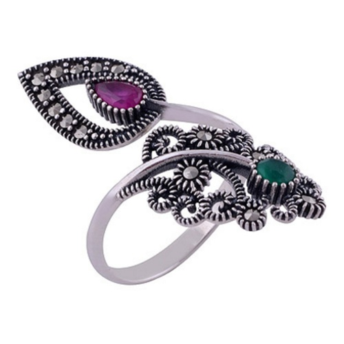 The Red Green Pasley Silver Ring