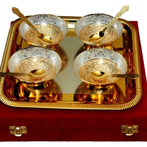 ALMAS SILVER PLATED ( SILVER AND GOLD COLOUR)UNIQUE TRADITIONAL SET OF 4 BOWLS