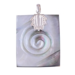 The Rectangular Shell Silver Pendant