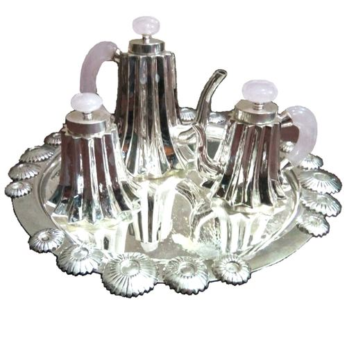ALMAS ENGLISH VINTAGE SILVER N ROSE QUARTZ D'ECOR TEA SET