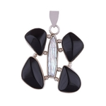The Black Onyx & Shell Silver Butterfly Pendant