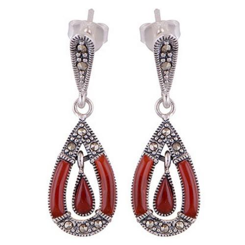 The Cherry Drop Marcasite Silver Earrings