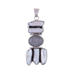 The Chalcedony Blue & Shell Silver Pendant