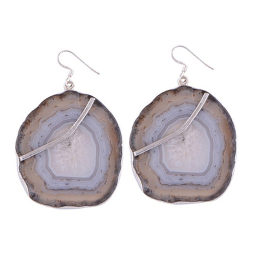 The Botswana Agate Silver Earrings