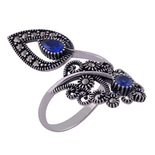 The Blue Pasley Silver Ring