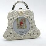 Silver Plated and Zircon Baby Handbag Photo frame