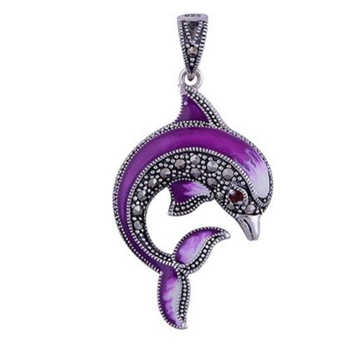 The Marcasite Dolphin Silver Pendant