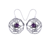 The Web Amethyst Stone Silver Earrings