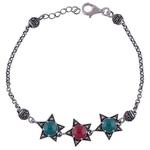 The Onyx N Carnelian Silver Bracelet