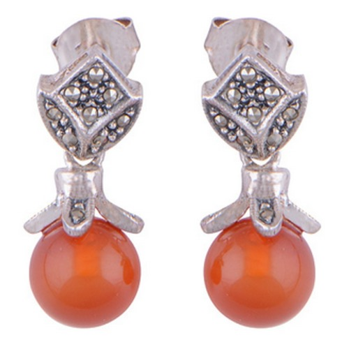 The Carnelian & Marcasite Silver Earrings