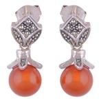 The Carnelian & Marcasite Silver Earrings