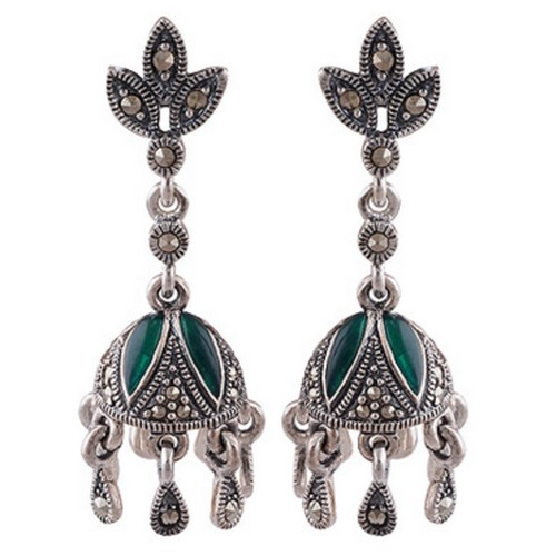 The Dome Marcasite Silver Earrings