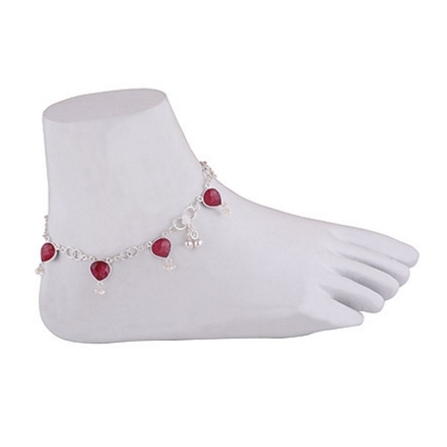 RED CORUNDUM SILVER ANKLETS