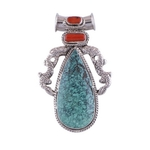The Ancient Spell Turquoise & Coral Silver Pendant