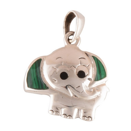 The Elephant Malachite Silver Pendant