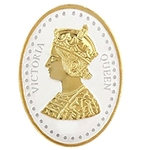 Silver Coin Queen Victoria 24 Kt Gold Plated 10 Gm 999 BIS Hallmarked