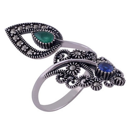 The Blue Green Pasley Silver Ring