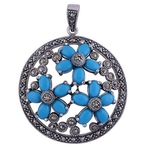 The Turquoise Flower Silver Pendant