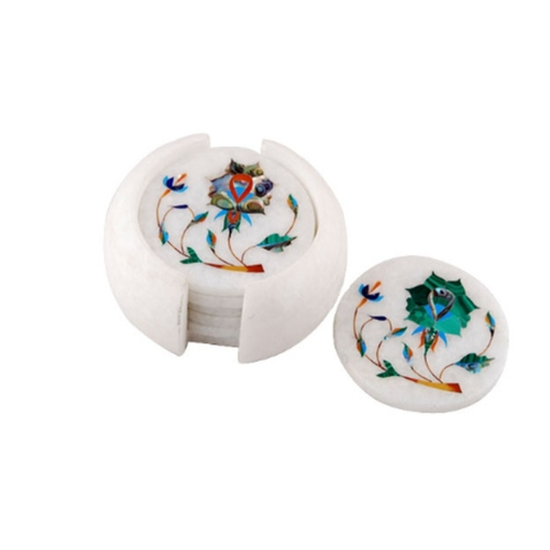 NATURAL GEMSTONES HAND PAINTING MARBLE HANDICRAFTS