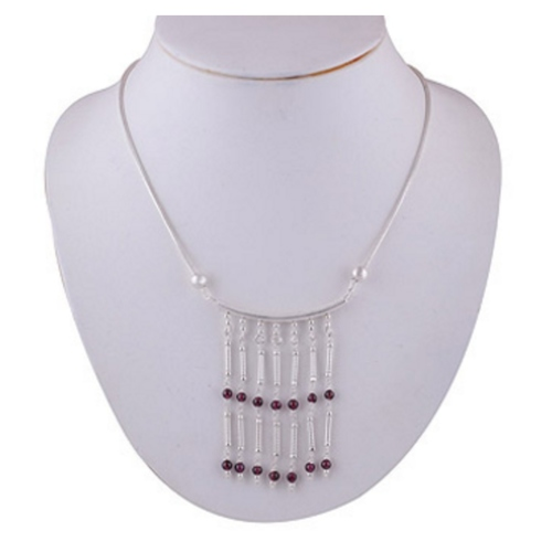 The Garnet Silver Necklace