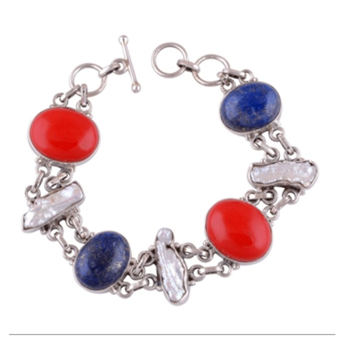 Coral Lapis Shell Silver Bracelet